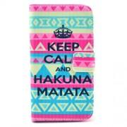 Δερμάτινη Θήκη Πορτοφόλι με Βάση Στήριξης για  Samsung Galaxy S3 I9300 - Keep Calm και Hakuna Matata σε Tribal Φόντο