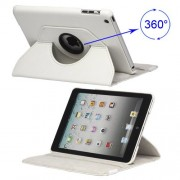 360 Degree Rotary For iPad Mini Leather Case with Elastic Strap - White