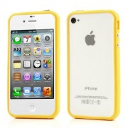 TPU and Plastic Hybrid Bumper Frame Shell for iPhone 4 4S - Yellow