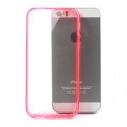 Θήκη Σιλικόνης TPU με Σκληρή Διάφανη Πλάτη για iPhone 5 5s - Ροζ