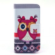 Cartoon Baby Owl Pattern Flip Leather Wallet Case for iPhone 4S 4 w/ Stand