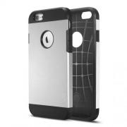 Θήκη Σιλικόνης TPU με Σκληρή Πλάτη με Ανάγλυφο Σχέδιο στο Εσωτερικό για iPhone 6 / 6s - Ασημί