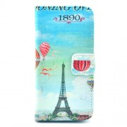 Eiffel Tower and Hydrogen Balloon Pattern for iPhone 5c Leather Wallet Stand Case