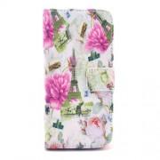 Δερμάτινη Θήκη Πορτοφόλι με Βάση Στήριξης για iPhone 6 / 6s - Πύργος του Άιφελ σε Φόντο με Φούξια Λουλούδια