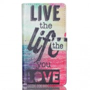 Δερμάτινη Θήκη Πορτοφόλι με Βάση Στήριξης για Sony Xperia M4 Aqua / M4 Aqua Dual - Φράση Ζήσε τη Ζωή που Θέλεις στα Αγγλικά