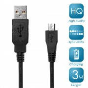 Καλώδιο Φόρτισης Δεδομένων Micro USB 2.0 για Samsung HTC LG Sony Huawei (3 μέτρα) - Μαύρο