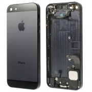 For iPhone 5 Metal Rear Back Housing Faceplate Assembly w/ Other Parts - Black / Slate
