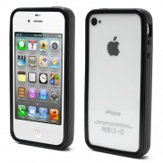 Black for iPhone 4 4S Backless Durable TPU Bumper Case