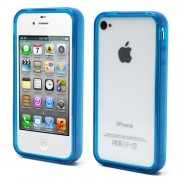 Blue for iPhone 4 4S Soft TPU Translucent Bumper