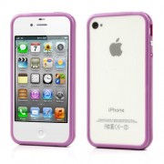 For iPhone 4 4S TPU and Plastic Hybrid Bumper Frame - Purple
