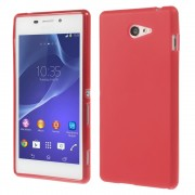 Red Double-sided Frosted Soft TPU Shell for Sony Xperia M2 D2303 / M2 Dual D2302