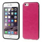Θήκη Σιλικόνης TPU με Επένδυση Δέρματος Crazy Horse για iPhone 6 / 6s - Φούξια