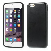 Crazy Horse Leather Coated TPU Gel Cover for iPhone 6 / 6s - Black