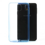 Transparent Acrylic Back TPU Frame Hybrid Shell for Samsung Galaxy Note 3 N9000 w/ Dust-proof Plug - Dark Blue