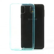 Transparent Acrylic Back TPU Frame Hybrid Cover for Samsung Galaxy Note 3 N9002 w/ Dust-proof Plug - Baby Blue