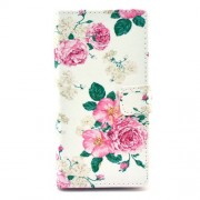 Leather Wallet Case for Sony Xperia M2 D2305 / M2 Dual D2302 - Charming Peony