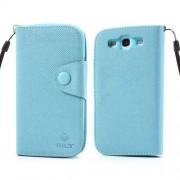 Δερμάτινη Θήκη Πορτοφόλι MLT για Samsung Galaxy S3 I9300 - Γαλάζιο