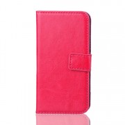 Crazy Horse Textured Leather Flip Card Holder Cover for Samsung Galaxy S5 mini G800 - Rose