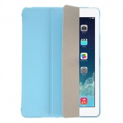 Blue Tri-fold Smart Leather Flip + Translucent PC Back Shell for iPad Air