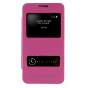 Dual Window View Brushed Leather Back Housing Cover for Samsung Galaxy Core 2 G355H - Rose