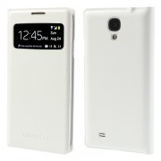 Litchi Leather Flip S-View Smart Battery Housing Cover for Samsung Galaxy S4 I9500 - White
