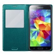 Green Window View Flip Leather Smart Battery Back Cover for Samsung Galaxy S5 G900