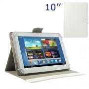 Universal Δερμάτινη Θήκη Βιβλίο με Βάση Στήριξης για iPad Air / Sony Xperia Tablet Z 10 ιντσών Tablet PC - Λευκό