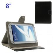 Universal Δερμάτινη Θήκη Βιβλίο με Βάση Στήριξης για iPad Mini 2 / Samsung N5100 N5110 Tablets 8 ιντσών - Μαύρο