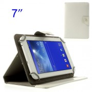 White Universal Crazy Horse Leather Cover Stand for Samsung Tab T110 T111 P3210 /Amazon Kindle Fire Etc. Size: 12.5 x 19.5cm