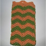 Summer Crochet Pouche for iPhone Plus / Galaxy Note 2 / 3 / 4 - Green/Orange Zic-Zac