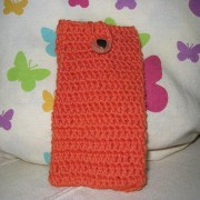 Crochet Pouche for iPhone 5 / 5s / 5c / Galaxy S4 mini / s3 mini - Orange