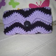Crochet Lychee Pouche Zic-Zac for iPhone 5 / 5s / 5c / Galaxy S4 mini / s3 mini - Purple/Light purple